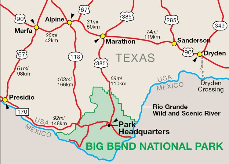 Map Of Big Bend National Park Te - Big bend national park map us